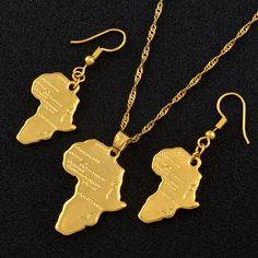 Anniyo Africa Map Jewelry set Pendant Necklaces Earrings Gold Color Map of African Ethiopian Nigeria Sudan Congo sets The product is gold plated or silver plated,no real pure gold or silver Packing: bag NO GIFT BOX NOTICE: Product size or color China Jewelry, Heart Jewelry, Jewelry Sets, Jewelry Accessories, Jewelry Making, Jewellery, Heart Pendant Necklace, Necklace Set, Pendant Jewelry
