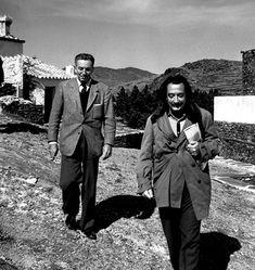 Walt Disney and Salvador Dalí at Dalí's home in Port Lligat, Spain, 1957