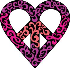 ☯☮ॐ American Hippie Psychedelic Heart Love Peace Sign