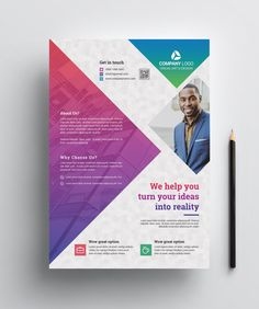 This corporate flyer is designed in Photoshop in PSD format. The template includes help file and Photoshop PSD's. Graphic Design Flyer, Design Brochure, Web Design, Flyer Design Templates, Flyer Template, Brochure Folds, Resume Templates, Pamphlet Design, Leaflet Design