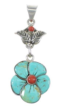 Turquoise Coral And Sterling Silver Flower Pendant www.silvertribe.com