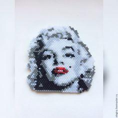 """Купить Брошь """" Мерилин Монро """" - брошь, брошь черно-белая, из бисера, handmade"""