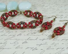 Woven Twin Bead Bracelet and Earrings Set Lava Red by IndulgedGirl (Pattern: http://www.aroundthebeadingtable.com/Patterns/Circe.html)