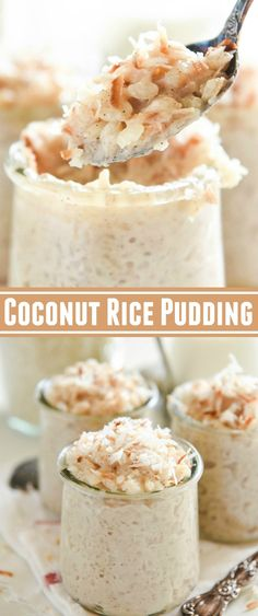 Coconut Rice Pudding: a Disney Cruise copycat recipe for extra creamy coconut rice pudding made with four different kinds of milk, golden raisins and coconut! #CoconutRicePudding #CoconutPudding #RicePudding #Dessert #Pudding #Rice #Dessert #Disney #DisneyRecipes #CopycatRecipes Rice Pudding Recipes, Coconut Milk Recipes, Coconut Pudding, Avocado Pudding, Recipes With Rice Milk, Rice Pudding Cooked Rice, Sweet Coconut Rice Recipe, Desserts With Coconut Milk, Rice Cream Recipe