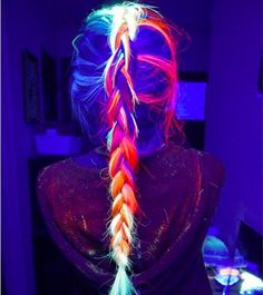 Behold, your new hair obsession: GLOW-IN-THE-DARK HAIR. #lights #rave #ravegirl #lightupyournight