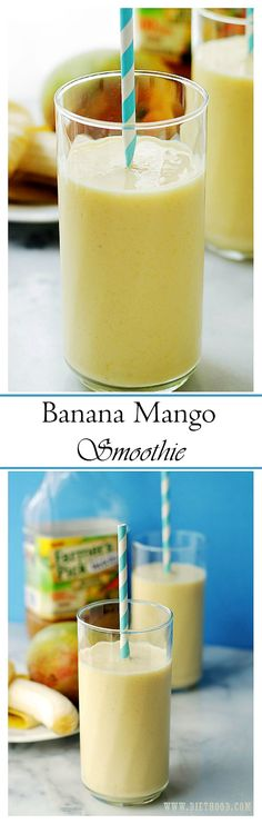 Healthy Recipes : Illustration Description Wake up to this incredibly delicious and creamy Banana Mango Smoothie made with fresh mangoes and yogurt! -Read More – Mango Banana Smoothie, Mango Smoothie Recipes, Yummy Smoothies, Juice Smoothie, Breakfast Smoothies, Smoothie Drinks, Mango Smoothies, Refreshing Drinks, Yummy Drinks