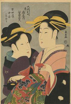 Eishosai Choki, portrait of a courtesan and her handmaiden, authentic ukiyo-e Japanese woodblock print