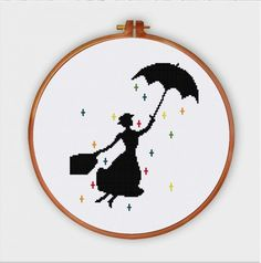 Mary Poppins cross stitch pattern is very easy and quick to stitch. This silhouette design is perfect for your baby room.