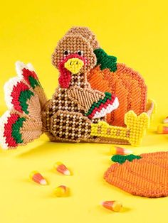 Plastic Canvas - Kitchen Patterns - For the Table Patterns - Turkey & Pumpkins Coaster Set