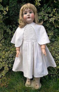 """Huge 35"""" Antique Kestner 142 Bisque Head Character Doll Germany"""