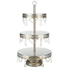3-Tier Crystal-Draped Dessert Stand | Silver | Sophia Collection