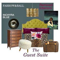 "Farrow&Ball ""INCHYRA BLUE"" Guest Room Mood Board via: Remixed Interiors #inchyrablue #farrow&ball"