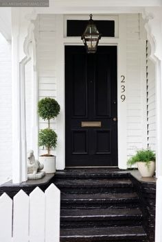 front door, front porch can't go wrong with black doors on a linen white painted house Black Front Doors, Front Steps, Door Steps, Atlanta Homes, Front Entrances, Grand Entrance, Entrance Ways, Cottage Homes, Open Plan