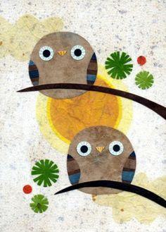 Owls - cartão usando cortadores