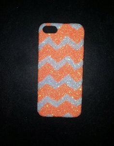 iPhone 5 Neon Orange & Crystal White Chevron by LeDazzleCouture, $20.00
