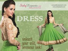 Net Sleeved Embellished With Golden Chickenkari Solid Green Dress - Soby Exports
