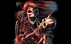dark music reaper skeleton skull guitars evil scary spooky halloween horns fantasy bones scream smile grimace free desktop backgrounds and wallpapers Skull Rock, Metal Skull, Metal Art, The Crow, Hard Rock, Heavy Metal, Black Metal, Skull Wallpaper, Metallic Wallpaper