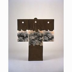 incorrectly titled but appears Miyamairi kimono, with with Dragons and Clouds in Cloud-Silhouette Band on Dark Brown.  Meiji Period, Kyoto National Museum