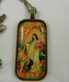 Virgn Mary Angels Antique Catholic Glass Tile Pendant Necklace