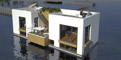 Floating prefab house / double-level / energy-efficient WATERVILLAS DE GROOTE WIELEN Waterstudio.NL