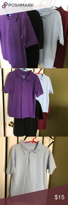 Boys 4-pack short sleeve polos This is a set of four short sleeve polo shirts, in excellent Used condition. My son wore each shirt, maybe twice. All are size 6/7, and are George brand. These shirts have NOT been placed in the dryer, only hung to dry.   60% cotton, 40% polyester.  The colors are royal purple, black, Carolina Blue, and burgundy. George Shirts & Tops Polos