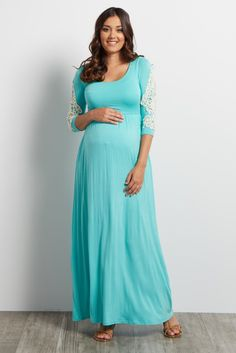 Not your average maxi, this maternity maxi dress is the perfect basic to style in numerous ways all year long. A feminine crochet accent gives you a pretty detail, while a comfortable fabric makes it easy to wear this dress all day and night. Style it with a statement necklace and sandals for a casual chic look you can rock at any occasion.