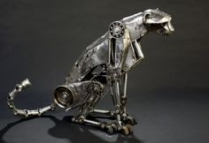 Photographer and artist Andrew Chase has created a breathtaking series of mechanical animal sculptures. The sculptures are made out of automobile transmission parts, electrical conduit, plumbing parts and sheet steel. Chase has an incredible eye for animal movement and captures it beautifully in these kinetic sculptures – watch the video below to see the Cheetah …
