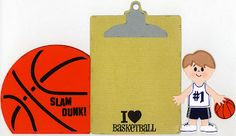 """This is a double sided tri-fold card designed on the Gypsy. """"Sports Mania"""" cartridge (clip board & basketball) & the """"Everyday Paper Doll"""" cartridge (player) were used"""