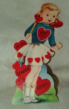 vintage cheerleader valentine card