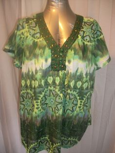 Sz 1X Plus KIM ROGERS Abstract Green Print Boho Embellished Lightweight Tunic http://stores.ebay.com/Classy-Fashions-and-Accessories?_trksid=p4340.l2563