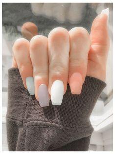 Acrylic Nails Coffin Short, Simple Acrylic Nails, Fall Acrylic Nails, Pastel Nails, Squoval Acrylic Nails, Short Square Acrylic Nails, Cute Acrylic Nail Designs, Coffin Nails Matte, Short Square Nails