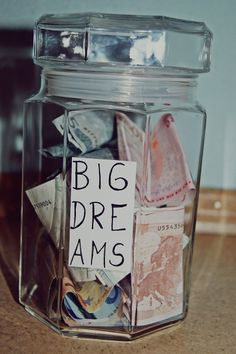 Write down those dreams and collect them in a jar and if you EVER have day where you feel like those dreams may never happen, open that jar and you will remember why you are dreaming that dream! #imagine #dream