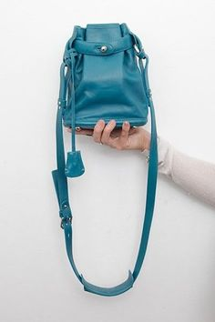 Opening Ceremony NEW Blue Leather Mini Satchel Coin Purse Shoulder Bucket Bag #OpeningCeremony #ShoulderBag