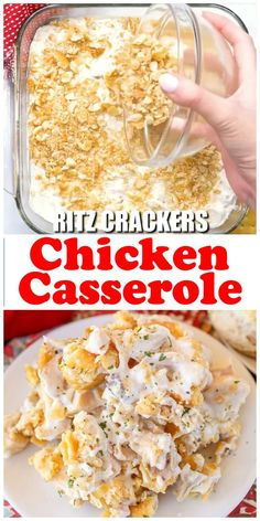 This is the best comfort food casserole - my friend made this for me at Bible Study and I kept requesting it every week - and then I finally begged for the recipe. It's so easy! dinner no cheese Recipe: Chicken Casserole Easy Chicken Recipes, Crockpot Recipes, Cooking Recipes, Healthy Recipes, Recipe Chicken, Healthy Food, Easy Salad Recipes, Chicken Bacon, Recipes For Shredded Chicken