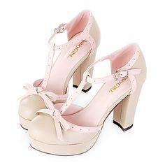 501ab0eefd3dc4   54.99  Leather Platform Chunky Heel T-strap Sandals With Bow