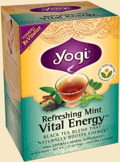 Yogi Tea Refreshing Mint Vital Energy.   When I am running out of steam in the afternoon,  this tea vastly improves my attitude!