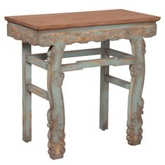 Engraved French Accent Table - distressed blue