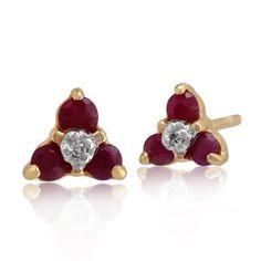 Gemondo Ruby Stud Earrings, 9ct Yellow Gold 0.32ct Ruby and Diamond Three Stone Cluster Stud Earrings