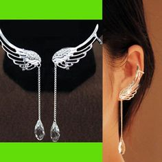 Angel's Wing Dangling Rhinestone Ear Cuffs | LilyFair Jewelry, $12.99!