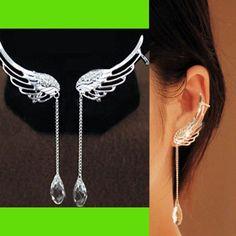 Angel's Wing Dangling Rhinestone Ear Cuffs | LilyFair Jewelry, $12.99! I want!