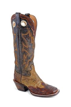 Handmade Brown and Tan Hand Tooled Wingtip Buckaroo Boots with Wide Square Toe 9EE