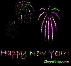 Happy New Year Animated Fireworks Glitter Graphic, Greeting ...