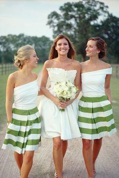 Southern-Weddings-Green-White-Striped-Bridesmaid-Skirts