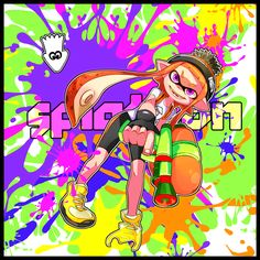 1girl beanie bike_shorts black_gloves border copyright_name fangs fingerless_gloves gloves hat holding inkling long_hair manoi open_mouth orange_hair outline paint paint_splatter pointy_ears shirt shoes smile sneakers solo splatoon squid super_soaker tentacles violet_eyes