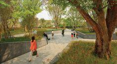 Zelkova Public Realm — Landworks Studio, Inc. - Zelkova Public Realm — Landworks Studio, Inc. Urban Landscape, Landscape Design, Walkable City, Public Space Design, Public Realm, Urban Park, Parking Design, Space Architecture, Urban Planning