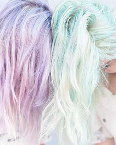 """Get these gorgeous looks using the Pravana ChromaSilk Pastels """"Mystical Mint"""" and """"Pretty in Pink"""" colors. Get these gorgeous looks using the Pravana ChromaSilk Pastels """"Mystical Mint"""" and """"Pretty in Pink"""" colors. Unicorn Hair Color, Dying My Hair, Coloured Hair, Mermaid Hair, Dream Hair, Rainbow Hair, Crazy Hair, Gorgeous Hair, Beautiful"""
