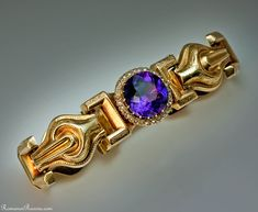 An Antique Russian Siberian Amethyst, Rose Diamond and Gold Link Bracelet    made in St Petersburg between 1908 and 1917