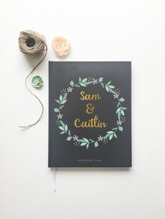 Mint and Gold Wedding Guest Book. Custom Wedding Guestbook.