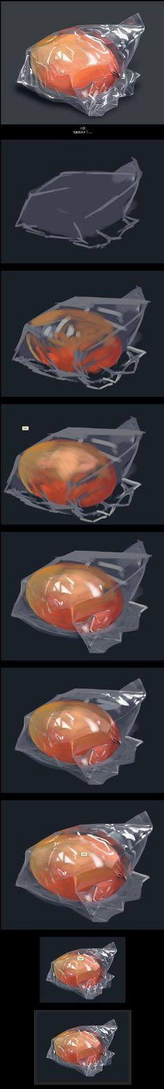 塑料袋质感(带大概步骤图)|绘画习作|插...@Hawkeyn·源采集到[实力教程].绘画(188图)_花瓣插画