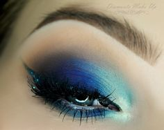 'Extra Blue' look by Diamante Make Up using Makeup Geek's Beaches and Cream, Drama Queen, Latte, Mermaid, Poolside, Center Stage, and Houdini eyeshadows. Beautiful look!